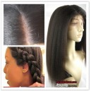 Indian remy hair Italian yaki silk top Bleached knots for Black women -bW0080