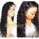 Virgin hair 8mm curly silk top bleached knots Full lace wig-BW0083