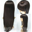 Indian virgin silk straight Lace wigs with chinese bangs-Lw4021