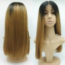Ombre color honey brown blunt cut human hair full lace wig 17115-3---ALW002
