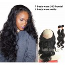 Brazilian virgin body wave 360 lace frontal and 2 bundles --WRF022