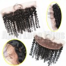 Virgin hair spiral curl lace frontal on sale bleached knots baby hairs--CR001
