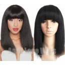 Italian yaki human hair machine made wig no lace with bangs --BB008