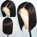 Virgin hair straight glueless 360 bob wig with preplucked hairline --BB012