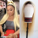 Best virgin human hair color 613 with dark roots lace front wig preplucked hairline  --BW0613